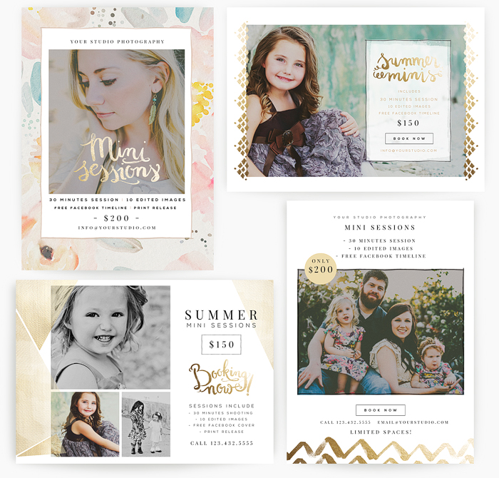 Gold Summer 5x7 WHCC Marketing Templates - Oh Snap Boutique