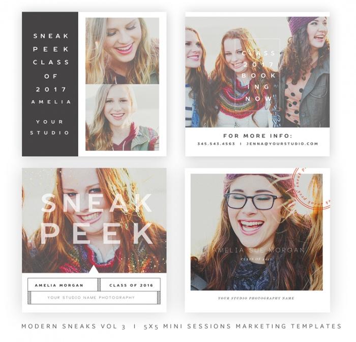 Modern Sneaks - Blog, Facebook and Instagram Sneak Peek Templates vol31