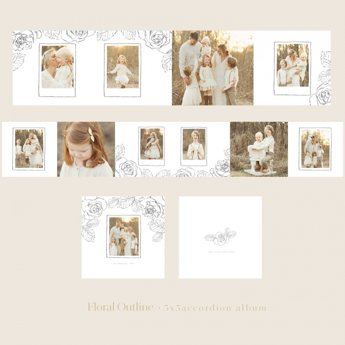floral_outline_3x3_Accordion_Album